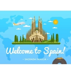 Welcome to Spain poster with famous attraction vector image vector image