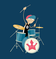 young drummer of rock band playing his kit vector image