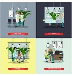 banners set with patients doctors and vector image vector image