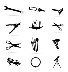 black silhouettes of tools symbols set vector image vector image