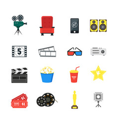cartoon cinema color icons set vector image vector image