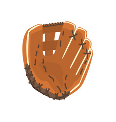 Catcher leather glove part of baseball player vector