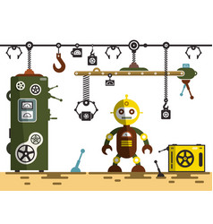 factory interior robot with machines vector image