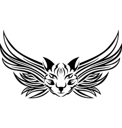 Head of cat with wings tattoo stencil vector image