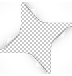 realistic paper corners isolated on transparent vector image vector image