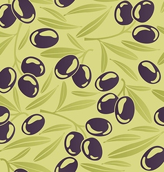 Seamless background with black olives vector