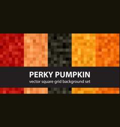 Square pattern set perky pumpkin seamless vector