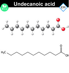 Undecanoic acid atomic structure vector image vector image