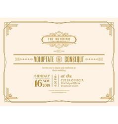 Vintage Wedding invitation card frame design vector image