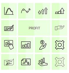14 profit icons vector image