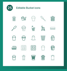 25 bucket icons vector
