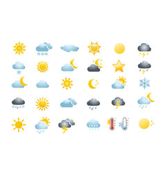 30 weather icons vector image