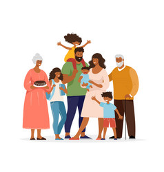 A large black family different generations vector