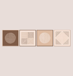 Abstract minimalist wall art composition in beige vector
