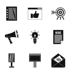 Advertising goods icons set simple style vector