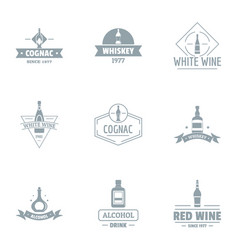 Alcohol consumption logo set simple style vector