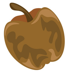 An unpleasant rotten cartoon apple in brown color vector