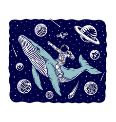 Astronaut riding a whale vector