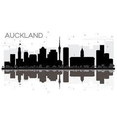 Auckland new zealand city skyline black and white vector