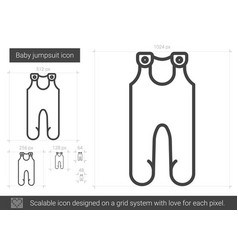 baby jumpsuit line icon vector image
