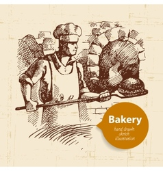 Bakery sketch background vector image