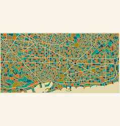 barcelona colourful city plan vector image