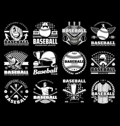 baseball game sport icons and equipment vector image