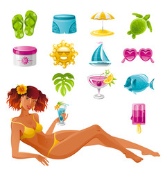 beach sea summer concept design travel symbol icon vector image