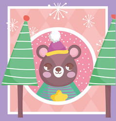 bear with hat trees snowflakes merry christmas tag vector image