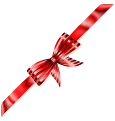 Beautiful striped red shiny bow vector