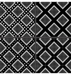 black and white rhombuses patterns vector image