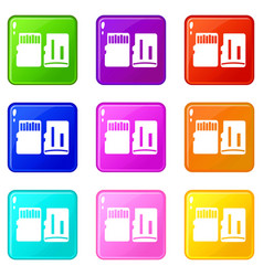 Both sides of sd memory card set 9 vector