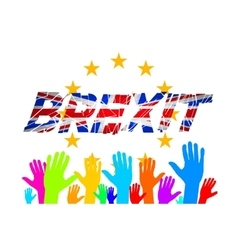 Brexit Text Isolated art hand flag of the vector image