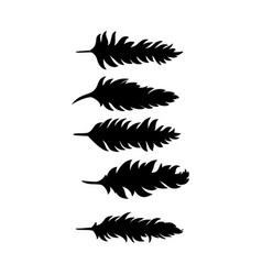 brushes in the form of black feathers vector image
