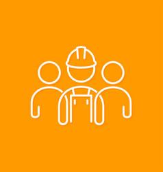 Builder line concept construction worker icon vector