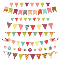 bunting and garland set isolated on white vector image