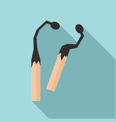 burned wood matches icon flat style vector image