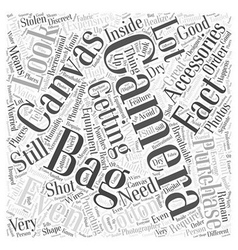 camera bag canvas Word Cloud Concept vector image