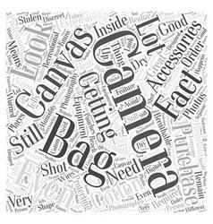 Camera bag canvas word cloud concept vector