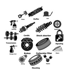 car repair parts icons set simple style vector image