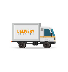 Cartoon delivery truck isolated object vector