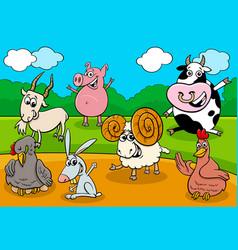 cartoon farm animals funny characters group vector image