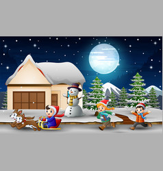 cartoon of a boy riding sled in front snowing hous vector image