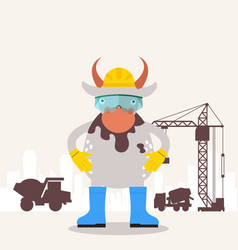cow builder engineer funny cartoon character vector image