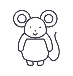 cute mouse line icon sign o vector image