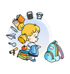 Cute school kid ready to education vector