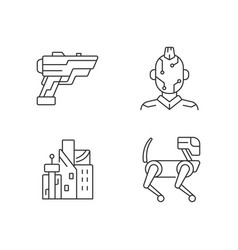 Cyberpunk items linear icons set vector