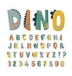 dinosaur alphabet set with cute hand drawn vector image