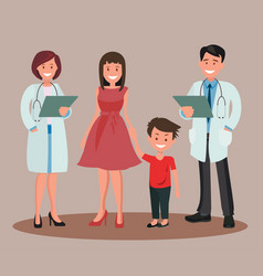 Doctors man and woman with family vector