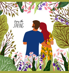 enjoy the spring young couple flowers trees in vector image